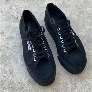 Superga Black Canvas Platform Sneaker Size 8
